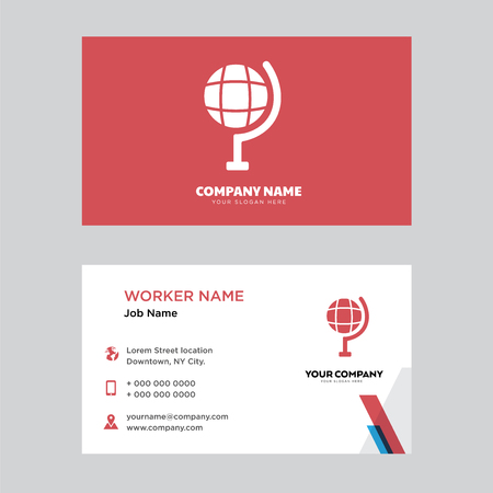 Globe business card design template, Visiting for your company, Modern horizontal identity Card Vector