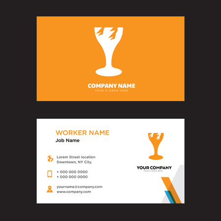 Broken Glass business card design template, Visiting for your company, Modern horizontal identity Card Vector Çizim