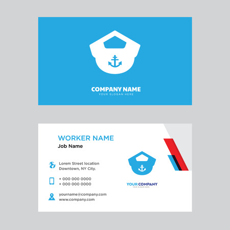 Boat Captain Hat business card design template, Visiting for your company, Modern horizontal identity Card Vector Illustration