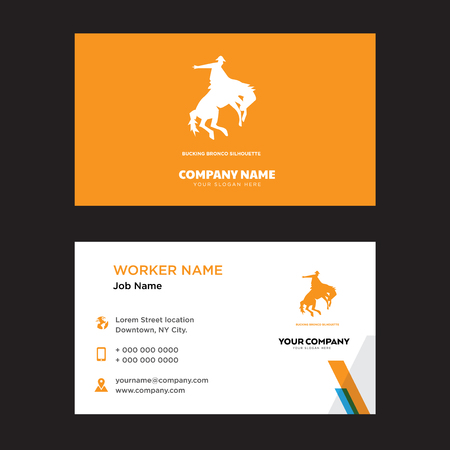 bucking bronco business card design template, Visiting for your company, Modern horizontal identity Card Vector