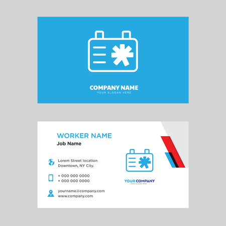Clipboard business card design template, Visiting for your company, Modern horizontal identity Card Vector