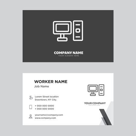 Computer business card design template, Visiting for your company, Modern horizontal identity Card Vector