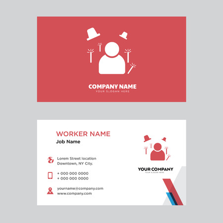 Magician business card design template, Visiting for your company, Modern horizontal identity Card Vector Illustration