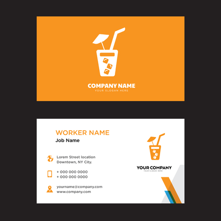 Soda with Straw business card design template, Visiting for your company, Modern horizontal identity Card Vector Ilustração