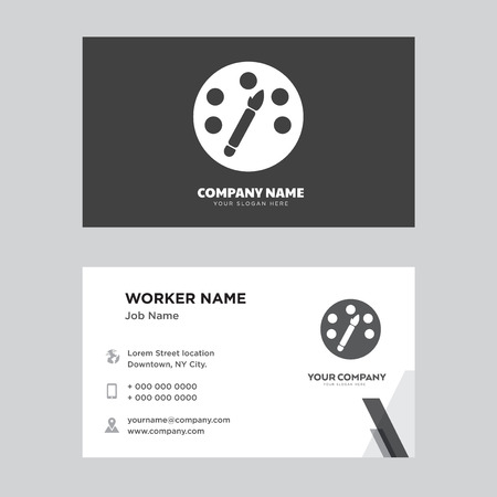 Paint palette business card design template, Visiting for your company, Modern horizontal identity Card Vector Illustration