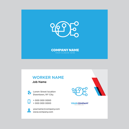 Hierarchical structure business card design template, Visiting for your company, Modern horizontal identity Card Vector Illustration