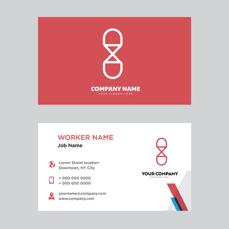 Hourglass business card design template, Visiting for your company, Modern horizontal identity Card Vector