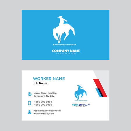 Bucking bronco business card design template. Modern horizontal identity Card Vector.