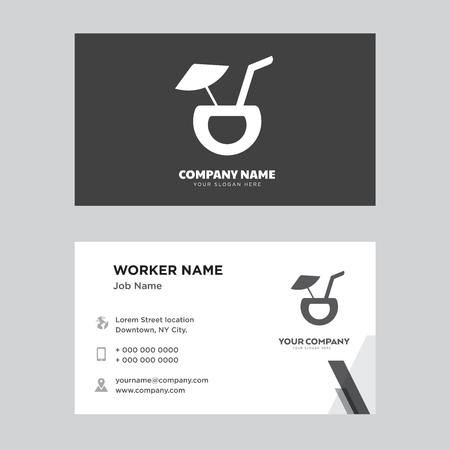 Cocktail Coconut business card design template. Modern horizontal identity Card Vector.
