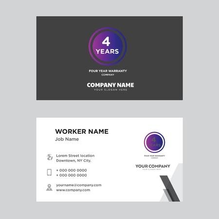 Four years warranty business card design template. Modern horizontal identity Card Vector. Illustration