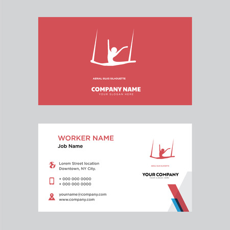 Aerial silks business card design template. Modern horizontal identity Card Vector.