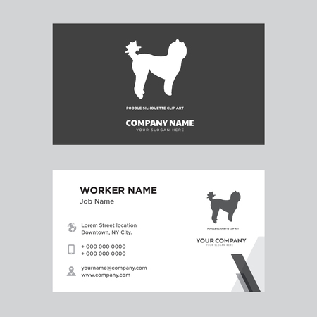 Poodle business card design template. Modern horizontal identity Card Vector.