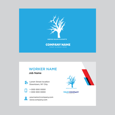 Weeping willow business card design template. Modern horizontal identity Card Vector. Çizim