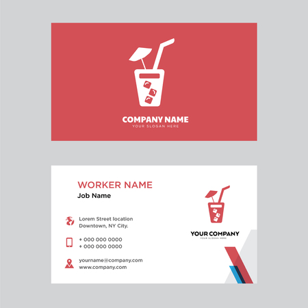 Soda with Straw business card design template. Modern horizontal identity Card Vector.