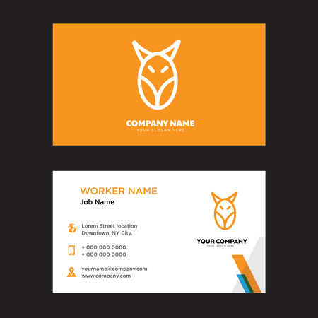 Animal business card design template, Visiting for your company, Modern horizontal identity Card Vector