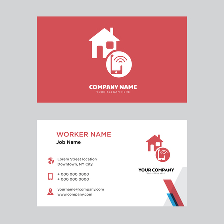 Smart home business card design template, Visiting for your company, Modern horizontal identity Card Vector 向量圖像