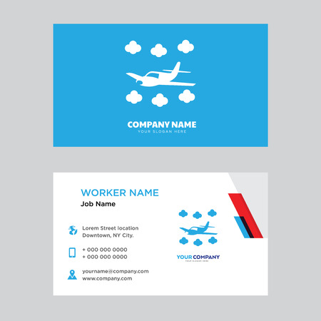 Airplane business card design template, Visiting for your company, Modern horizontal identity Card Vector