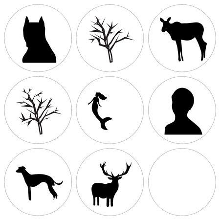 Set Of 9 simple editable icons such as buffalo sky, free clip art deer, whippet, female headshot, mermaid, mesquite tree, moose, pitbull face, can be used for mobile, web