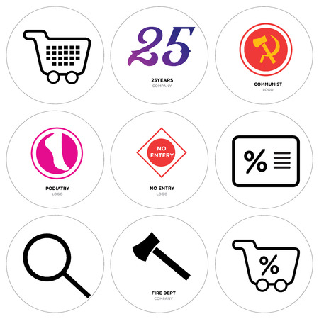 Set Of 9 simple editable icons such as Shopping percent, fire dept, Search, Percent, no entry, podiatry, communist, 25 years, Shopping. Can be used for mobile, web. Illustration