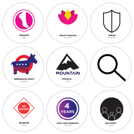 Set Of 9 simple editable icons such as our family, four years warranty, no entry, Search, pinnacle, democratic party, shield, beauty parlor, podiatry. Can be used for mobile, web.