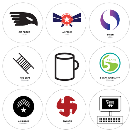Set Of 9 simple editable icons such as On, swastik, air force, 5 year warranty, Cup, fire dept, Gradient Purple swish, Airforce, can be used for mobile, web Illustration