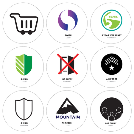 Set Of 9 simple editable icons such as our family, pinnacle, sheild, air force, no entry, 5 year warranty, Gradient Purple swish, Shopping, can be used for mobile, web