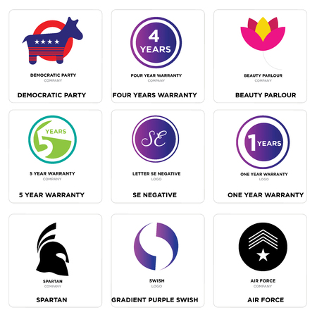 Set Of 9 simple editable icons such as air force, Gradient Purple swish, spartan, one year warranty, SE negative, 5 beauty parlour, four years democratic party, can be used for mobile, web