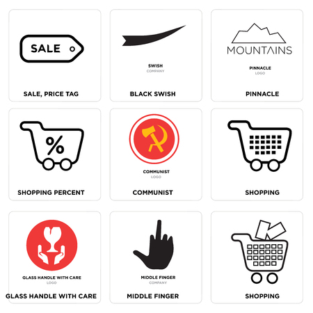 Set Of 9 simple editable icons such as Shopping, middle finger, glass handle with care, communist, Shopping percent, pinnacle, Black swish, Sale, price tag, can be used for mobile, web