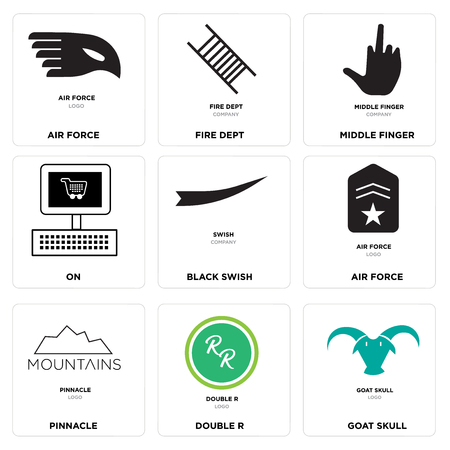 Set Of 9 simple editable icons such as goat skull, double r, pinnacle, air force, Black swish, On, middle finger, fire dept, can be used for mobile, web