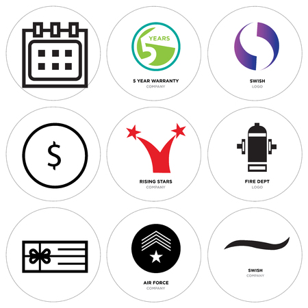 Set Of 9 simple editable icons such as Black swish, air force, Gift, fire dept, rising stars, USD, dollar, Gradient Purple 5 year warranty, Calendar, can be used for mobile, web Illustration