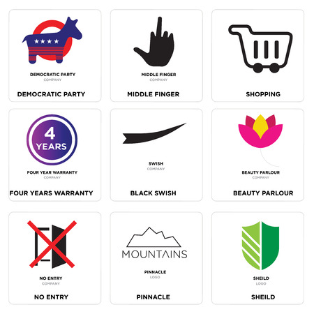 Set Of 9 simple editable icons such as sheild, pinnacle, no entry, beauty parlour, Black swish, four years warranty, Shopping, middle finger, democratic party, can be used for mobile, web Illustration
