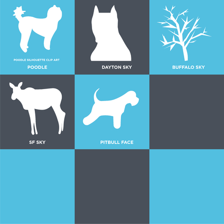 Set Of 9 simple editable icons such as miniature schnauzer, female moose, mesquite tree, charleston sky, pitbull face, sf buffalo dayton poodle, can be used for mobile, web Illustration