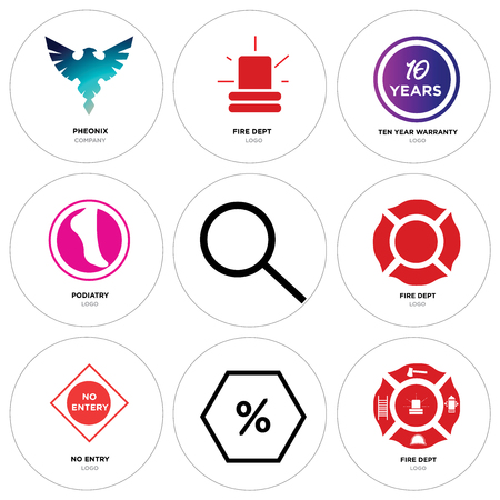 Set Of 9 simple editable icons such as fire dept, Discount Percent, no entry, Search, podiatry, ten years warranty, Pheonix, can be used for mobile, web Illustration