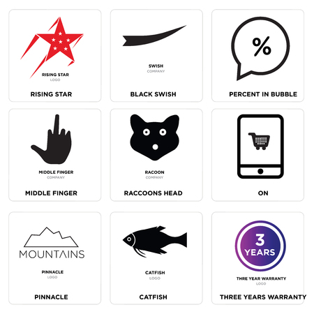 Set Of 9 simple editable icons such as three years warranty, catfish, pinnacle, On, Raccoons head, middle finger, Percent in bubble, Black swish, rising star, can be used for mobile, web