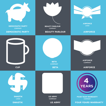 Set Of 9 simple editable icons such as four years warranty, us army, swastik, Airforce, beta, Cup, beauty parlour, democratic party, can be used for mobile, web