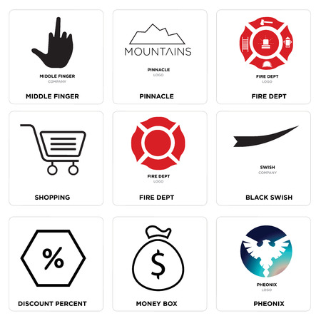 Set of 9 simple editable icons such as phoenix, money box, discount percent, black swish, fire dept, shopping, pinnacle, middle finger, can be used for mobile, web.
