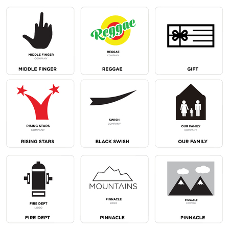 Set of 9 simple editable icons such as pinnacle, fire dept, our family, black swish, rising stars, gift, reggae, middle finger, can be used for mobile, web.