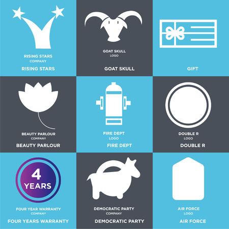 Set Of 9 simple editable icons such as air force, democratic party, four years warranty, double r, fire dept, beauty parlour, Gift, goat skull, rising stars, can be used for mobile, web
