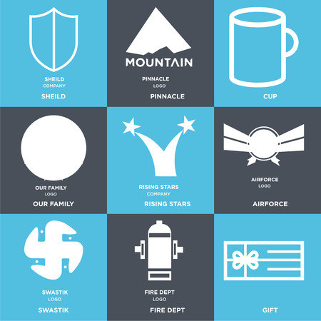Set Of 9 simple editable icons such as Gift, fire dept, swastik, Airforce, rising stars, our family, Cup, pinnacle, sheild, can be used for mobile, web