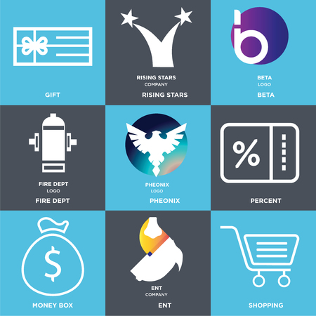 Set Of 9 simple editable icons such as Shopping, ent, Money box, Percent, Pheonix, fire dept, beta, rising stars, Gift, can be used for mobile, web Illustration