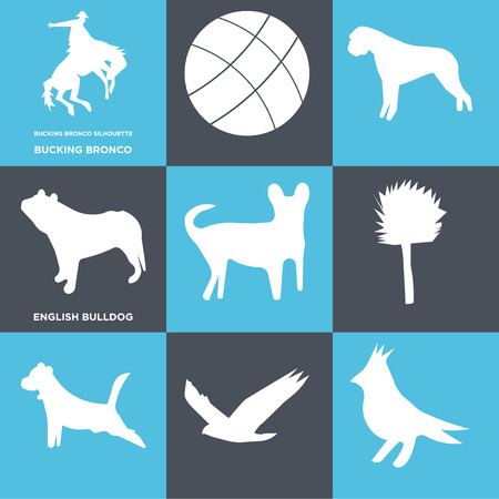 Set Of 9 simple editable icons such as english bulldog, bucking bronco, can be used for mobile, web Illustration