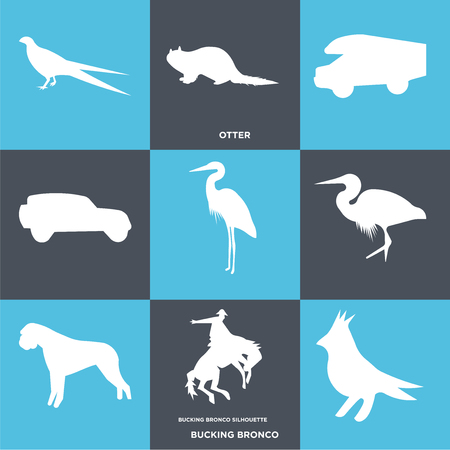 Set Of 9 simple editable icons such as bucking bronco, otter, , can be used for mobile, web