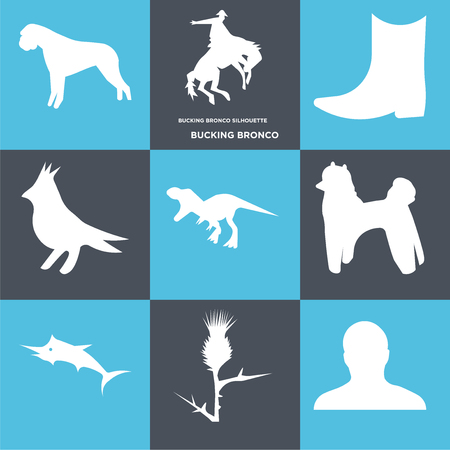 Set Of 9 simple editable icons such as bucking bronco, , can be used for mobile, web