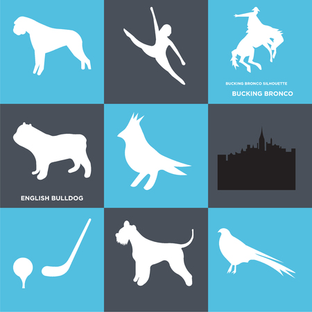 Set Of 9 simple editable icons such as english bulldog, bucking bronco, , can be used for mobile, web