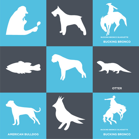 Set Of 9 simple editable icons such as bucking bronco, american bulldog, otter, , can be used for mobile, web