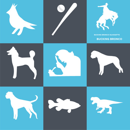 Set Of 9 simple editable icons such as bucking bronco, , can be used for mobile, web Stock Vector - 100999383