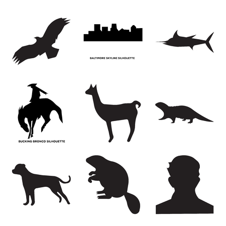 Set Of 9 simple editable icons such as american bulldog, otter, bucking bronco, baltimore sky, , can be used for mobile, web Stock Vector - 100999384