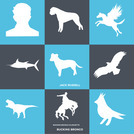 Set Of 9 simple editable icons such as bucking bronco, jack Russell. Can be used for mobile, web. Illustration