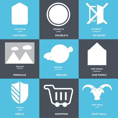 Set Of 9 simple editable icons such as goat skull, Shopping, shield, our family, reggae, pinnacle, no entry, double r, air force. Can be used for mobile, web.