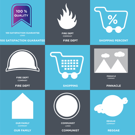 Set Of 9 simple editable icons such as reggae, communist, our family, pinnacle, Shopping, fire dept, Shopping percent, 100 satisfaction guarantee. Can be used for mobile, web.